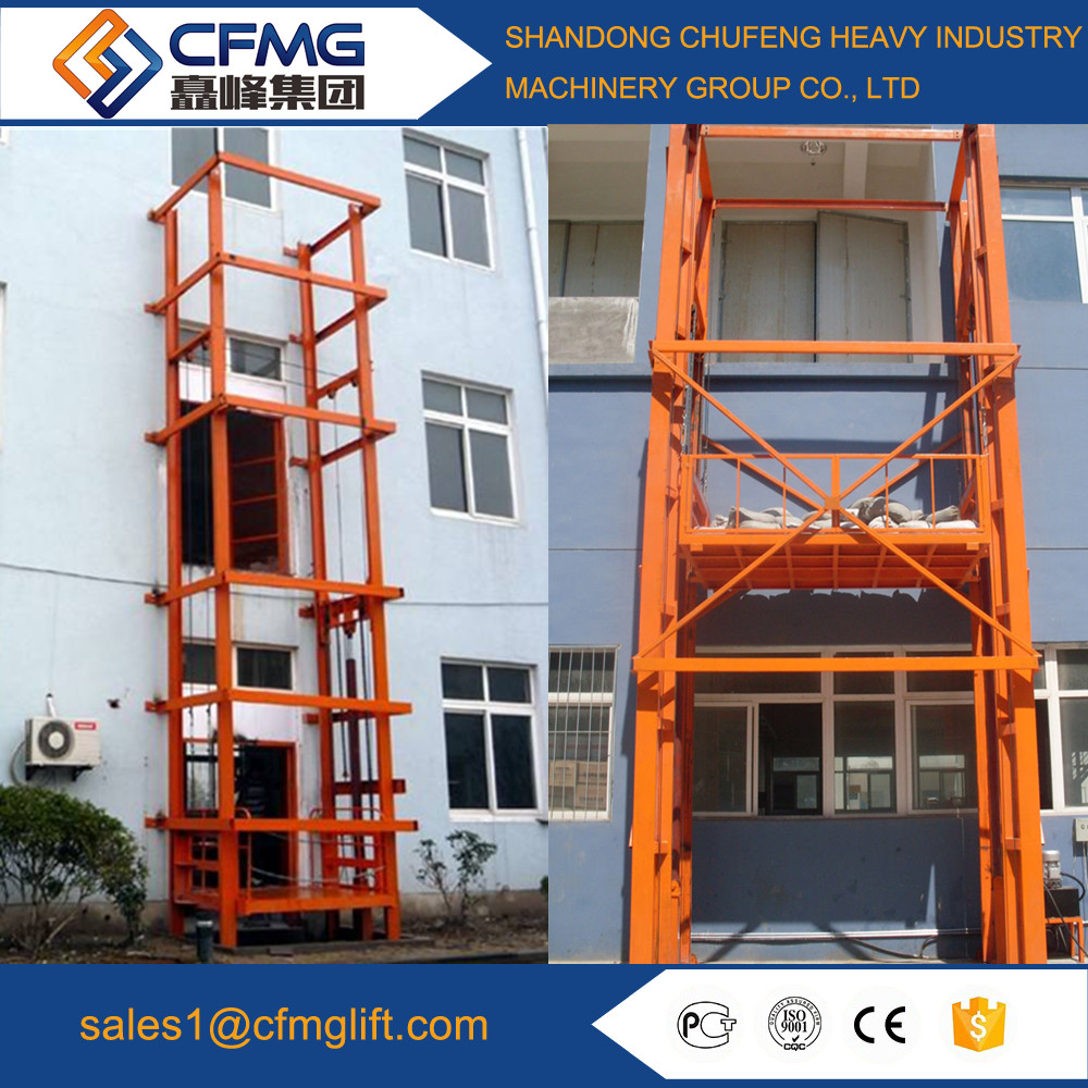 hydraulic cargo lift/ guide rail lift/ goods lift for warehouse