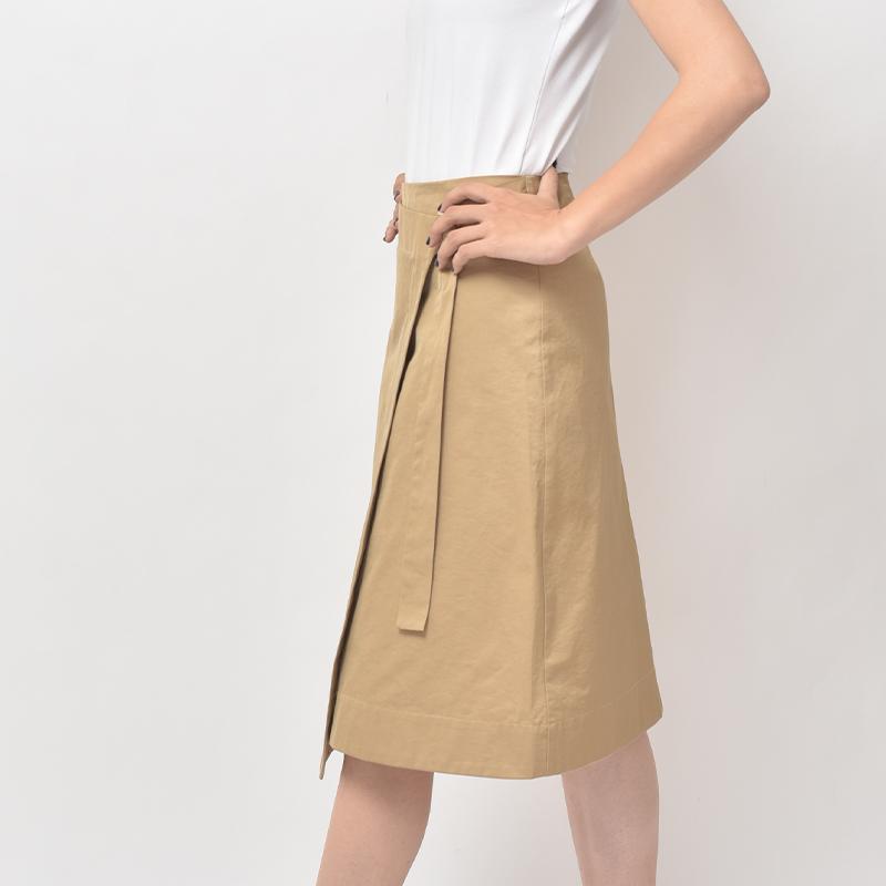 Eccellente Custom Autumn Skirt Slim Stitching Commuter Solid Color Khaki MID-Waist A-Line Skirt Long