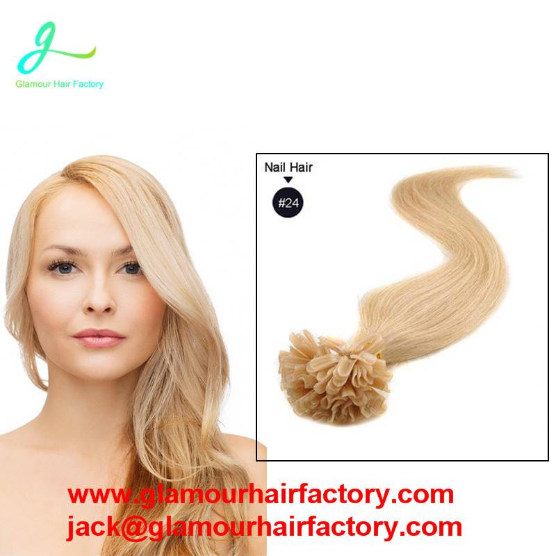 Keratin Remy Fusion Hair Extension Pre Bonded Double Drawn Nail Tip Human Hair Extensions Straight