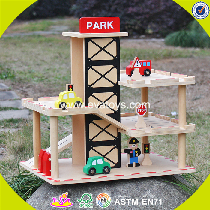 2017 wholesale boys wooden garage for toy cars new design kids wooden garage for toy cars best child