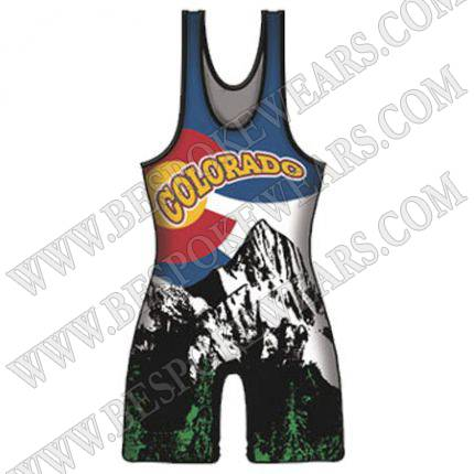 Top quality sublimated spandex custom wrestling singlets