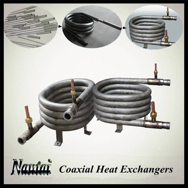 Titanium Coaxial Heat Exchanger Condenser Evaporator