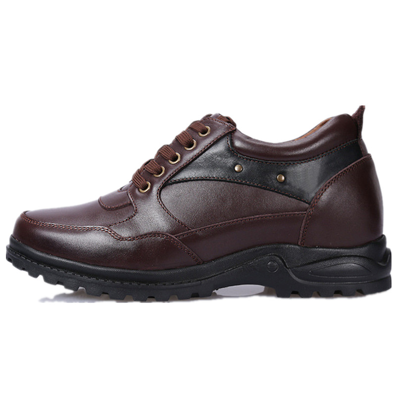 Fashion Men's Casual Leather Shoes 8CM Height Increasing Geunine Leather Lace UP Elevator Shoes