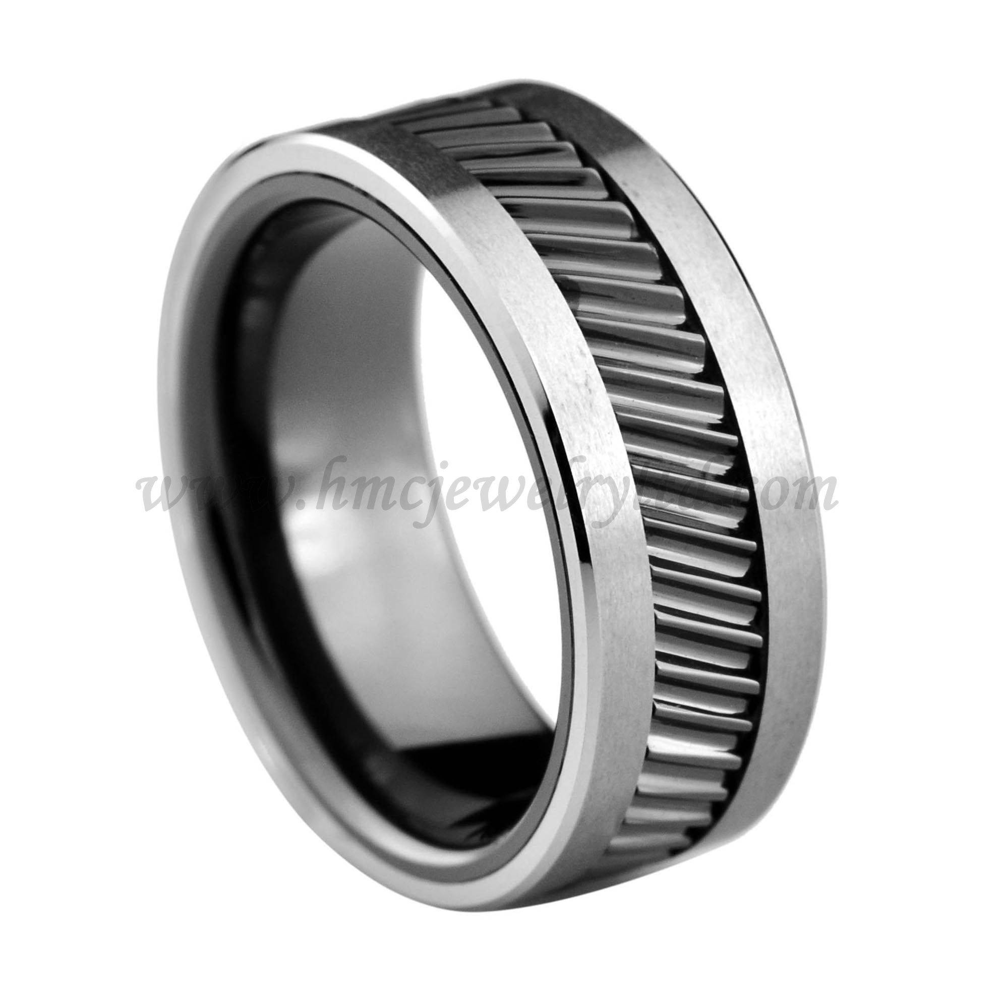 Gear teeth pattern black ceramic inlay tungsten carbide ring for men