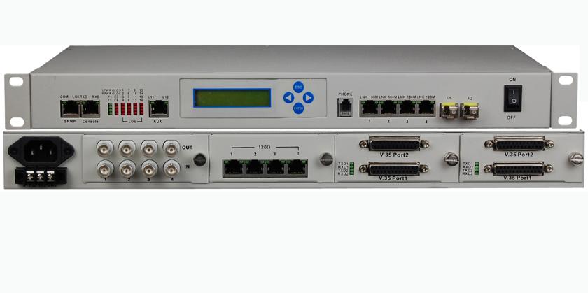 Multiservice E1/Ethernet/V.35/POTS Optical Fiber Multiplexer