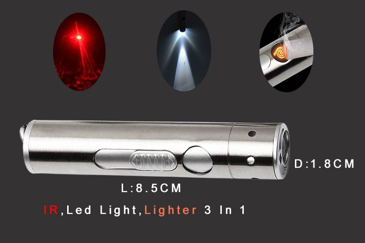 Mini Flashlight :Lighter +IR LED Torch+White Light 3 in1