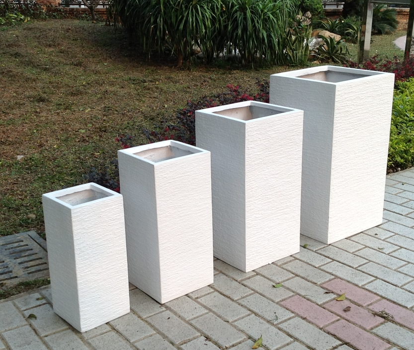 Factory sales high strength durable large white vertical garden square texture outdoor plant pot for
