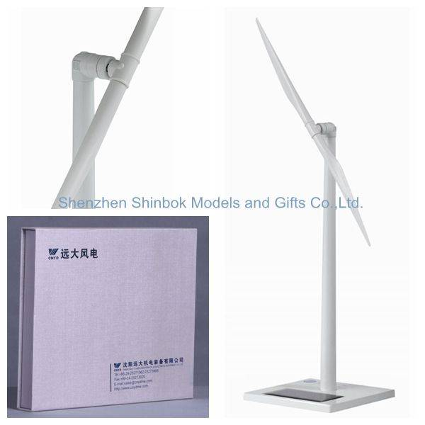Diecast Zinc alloy and ABS plastic blades Solar Windmill with Two Blades