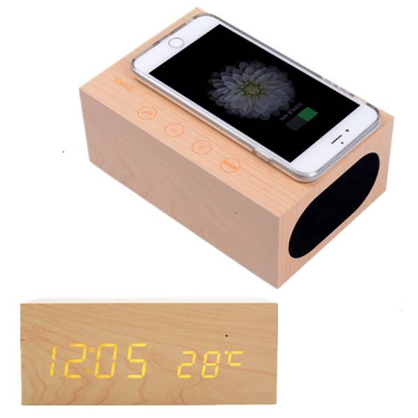 Home Decor Gift Table LED Wood Clock Magic Speaker and QI Charger