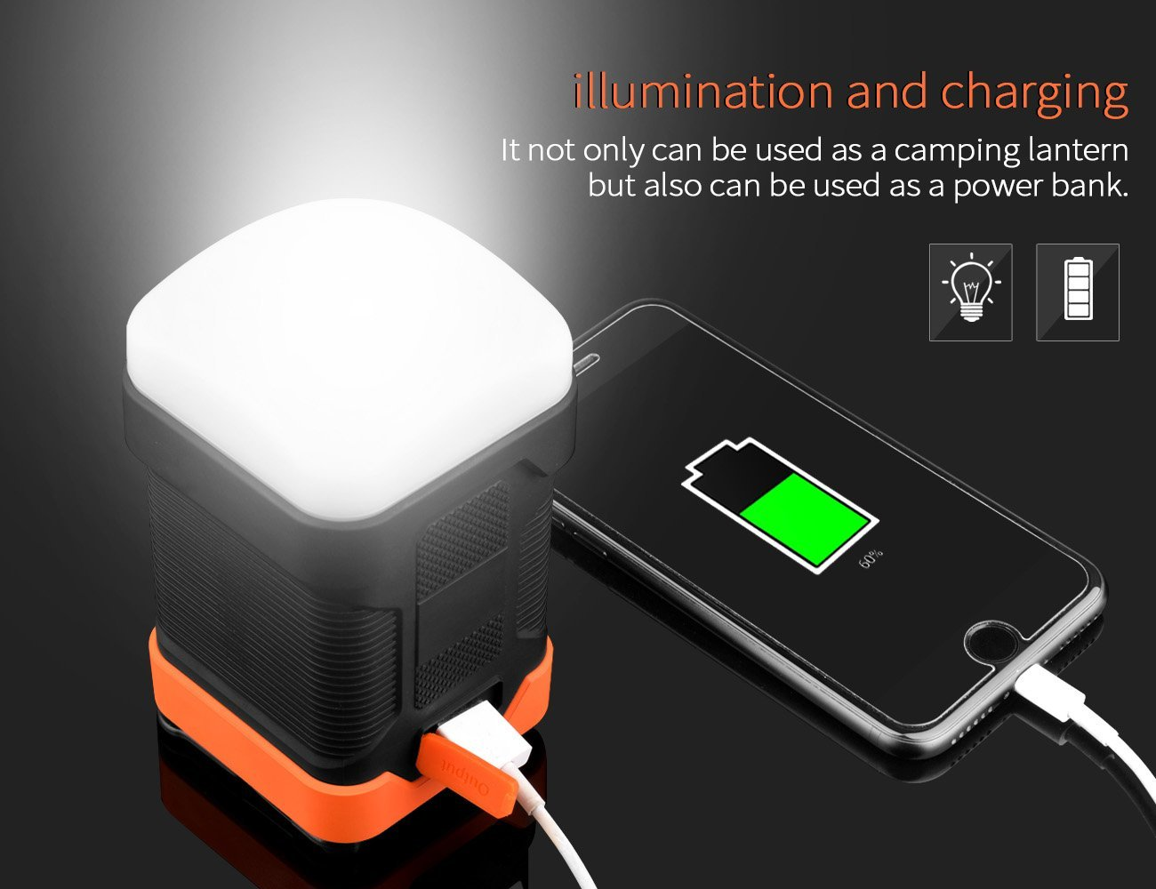 Hot selling super Bright camping lantern power bank for outdoor