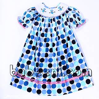 Adorable Snowman smocked dress for girls - BB847