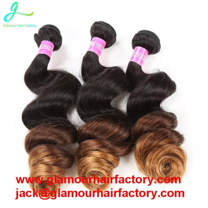 Ombre Brazilian Hair Loose Wave Modern Show Hair 3 Tone 1B#4#30