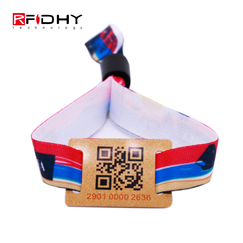One Time Use Fabric RFID Wristband with PVC Tag
