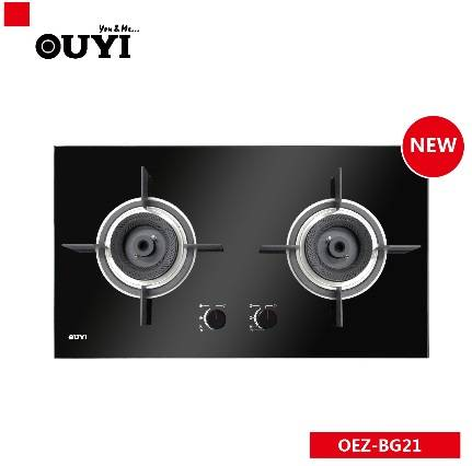 OUYI Hot sale Black Tempered Glass 2 burners gas cooker
