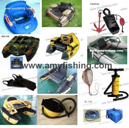 float tube, float tube rubber net, jabo remote control bait boat,  fising boat, anchors, fins, flipp
