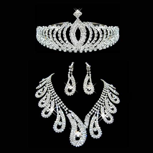 3 Pieces Dazzling Alloy With Clear Rhinestones Wedding Jewelry Sets