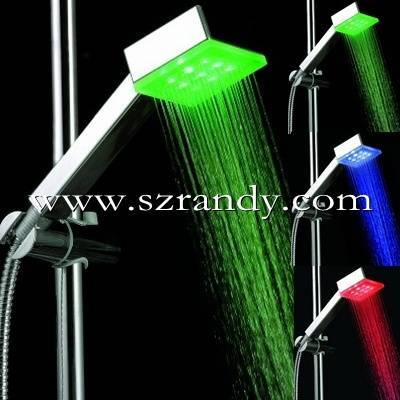 color changing square led shower/spa massage hand held shower head