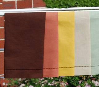 Colored pure linen hemstitched guest towel