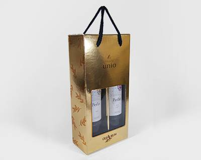 Gold Foil Wine Box with PVC Window