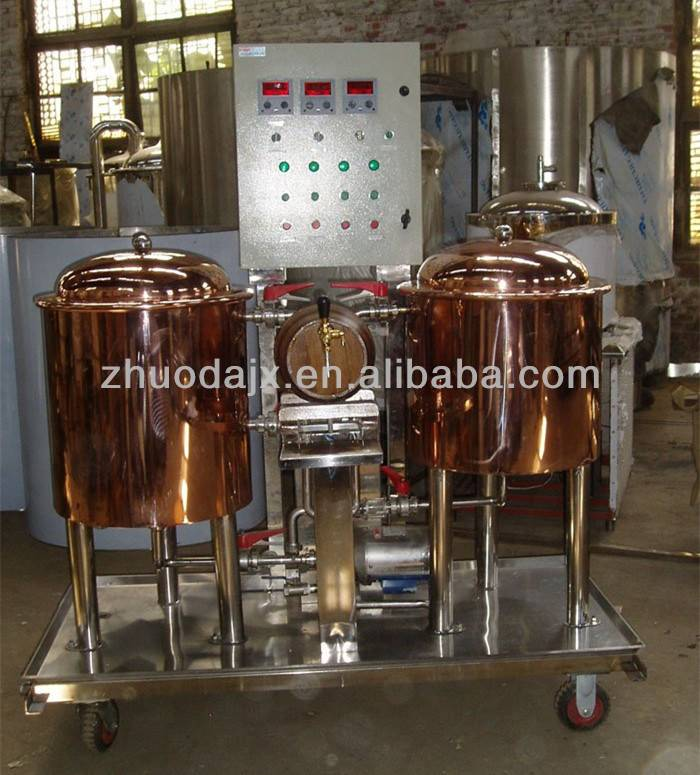 Cost-effective red cooper moved 50L pub beer equipment brewing system from JInan Zhuoda