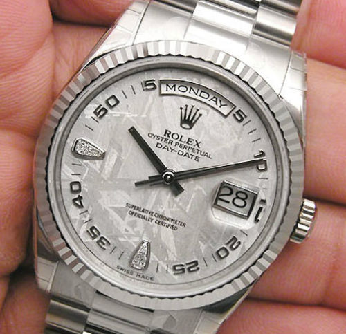 New Rolex Day-Date President 118239 Mens 18K White Gold Meteorite Diamond Dial 36MM Luxury Watch