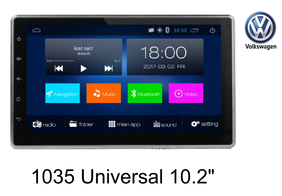 10.2''VW universal car GPS navigation, android system,4G/ HD/BT/FM/AM