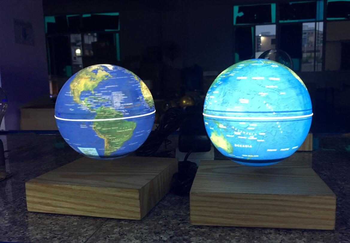 new wooden magnetic floating leivtate bottom globe 3inch 4 inch 6 inch with lighting