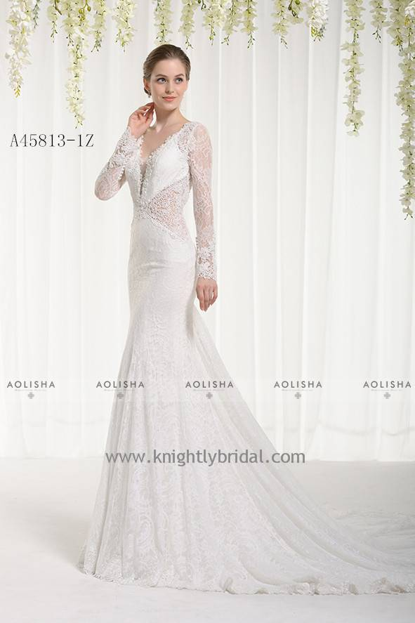 Lace Applique Beaded V-Neck Long Sleeve WEDDING DRESS