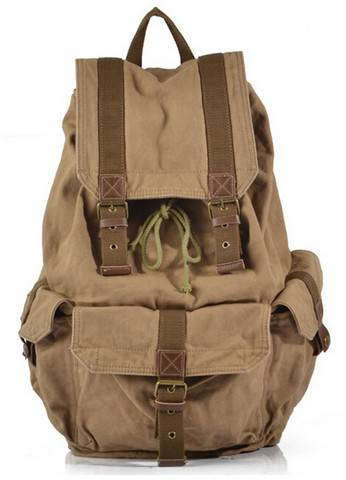 Men's large canvas soft backpack for camping and hiking