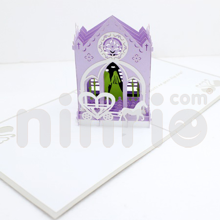 Wedding in church Pop Up Card Handmade Greeting Card