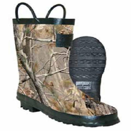 Camo tree rubber boots with trim on the loop