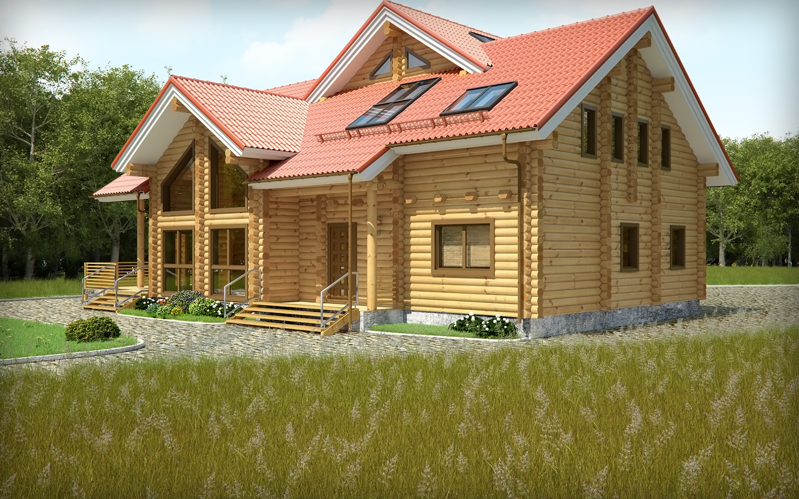 beautiful design solid material wooden villa
