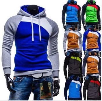 Mens Jackets new fashion color block splicing Men's hoodies, casual slim men sweatshirt