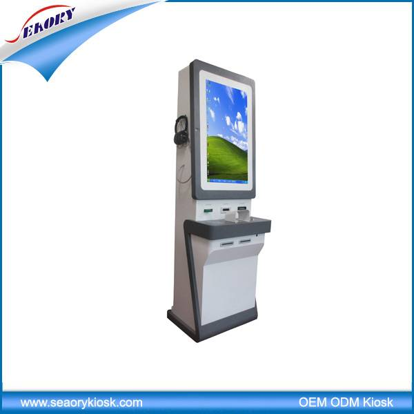 32 inch touch screen advertising with card reader kiosk