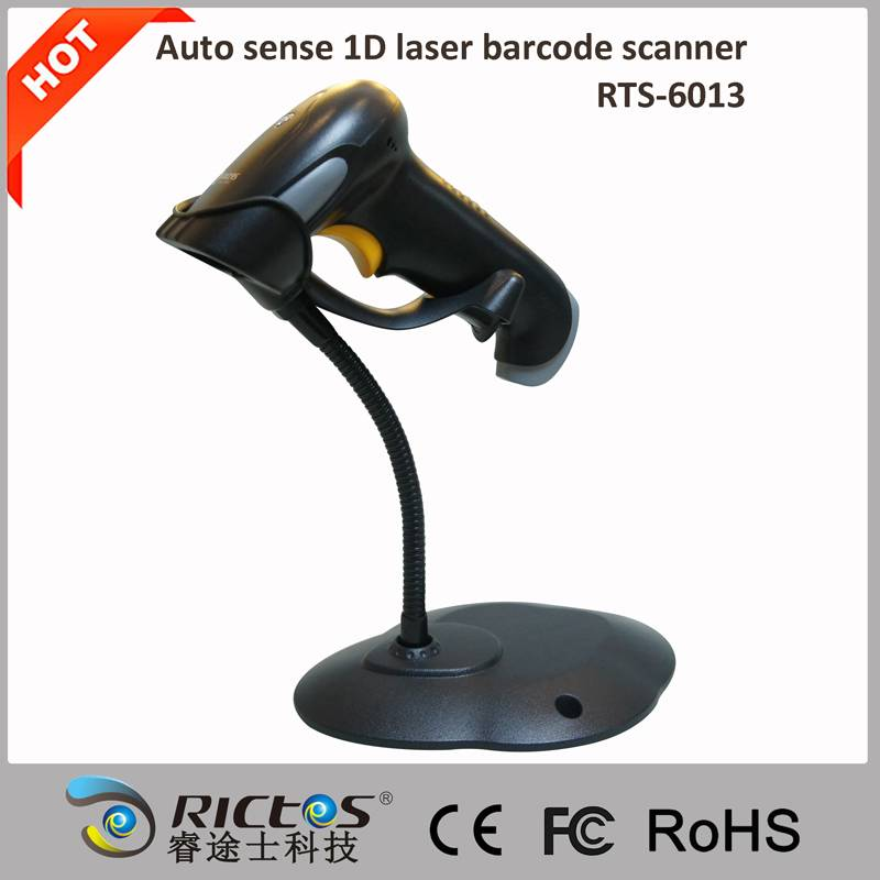 Auto-reaction 1D laser barcode scanner with stand