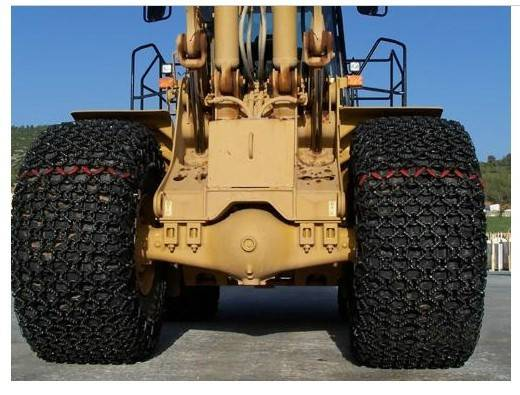 Wheel loader tire protection chain for 29.5-25