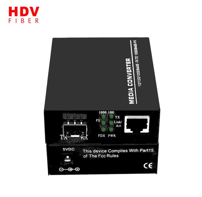 SFP Media Converter 10/100/1000 Base Media Converter 20km Fiber Optic Media Converter