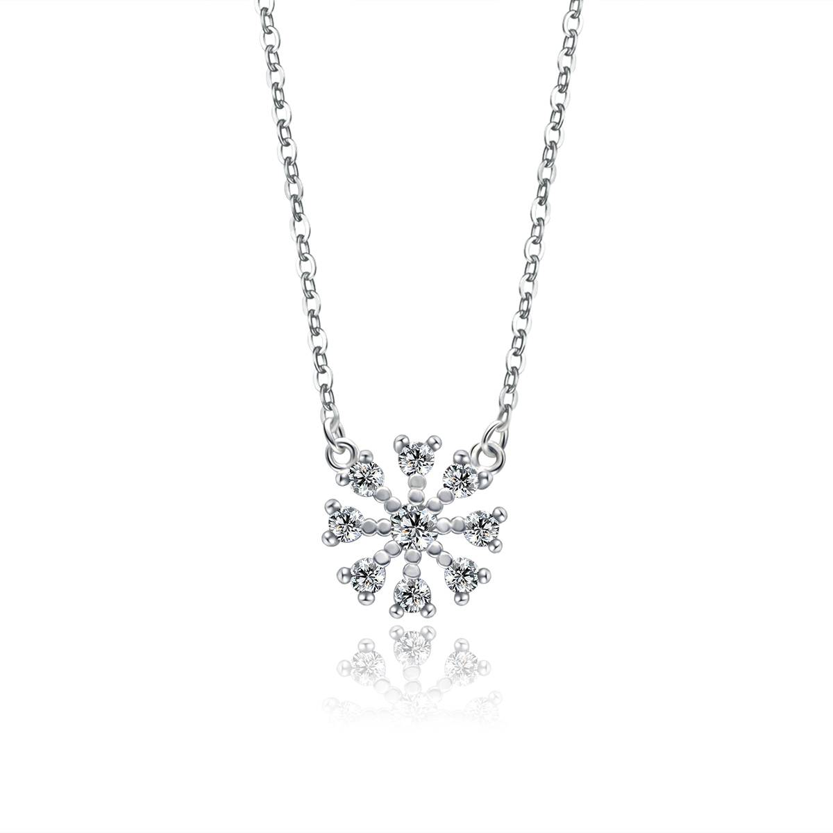 2016 new design 925 sterling silver necklace snowflake shape gift jewelry wholesale