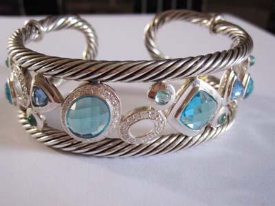 Sterling Silver Jewelry Blue Cubic Zircon Cuff Bracelet (B-080)