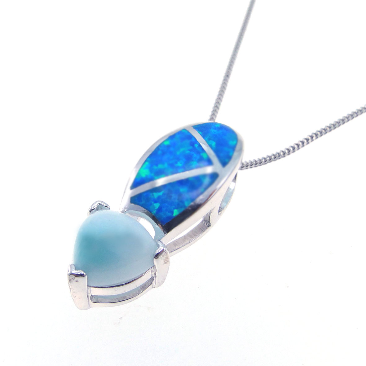 925 sterling silver larimar with blue opal necklace pendants for women