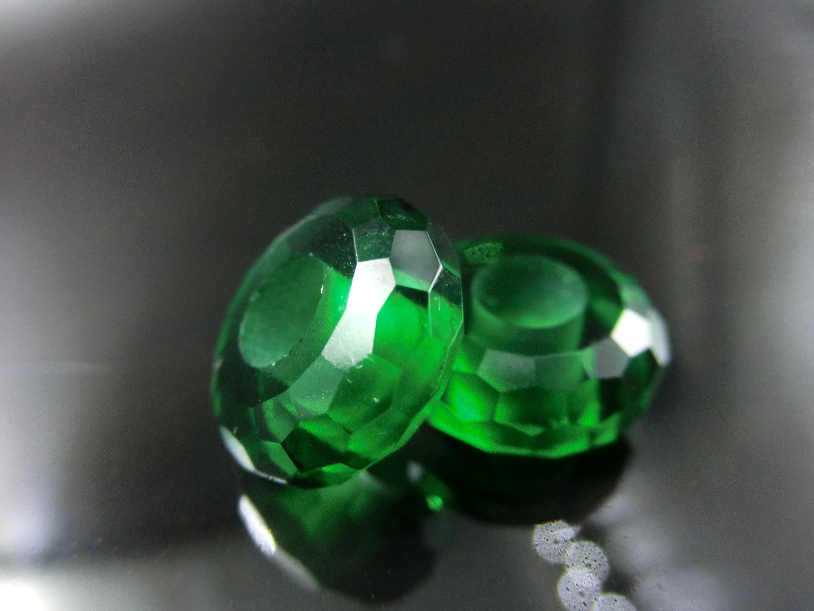 Green Murano Glass beads Faceted with Large hole size