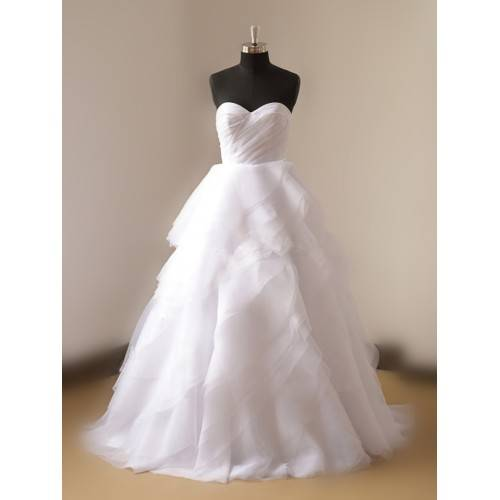 ELEGANT SATIN&ORGANZA BALL GOWN RUCHED BODICE SWEETHEART STRAPLESS MULTI-LAYERED SWEEP TRAIN WEDDING