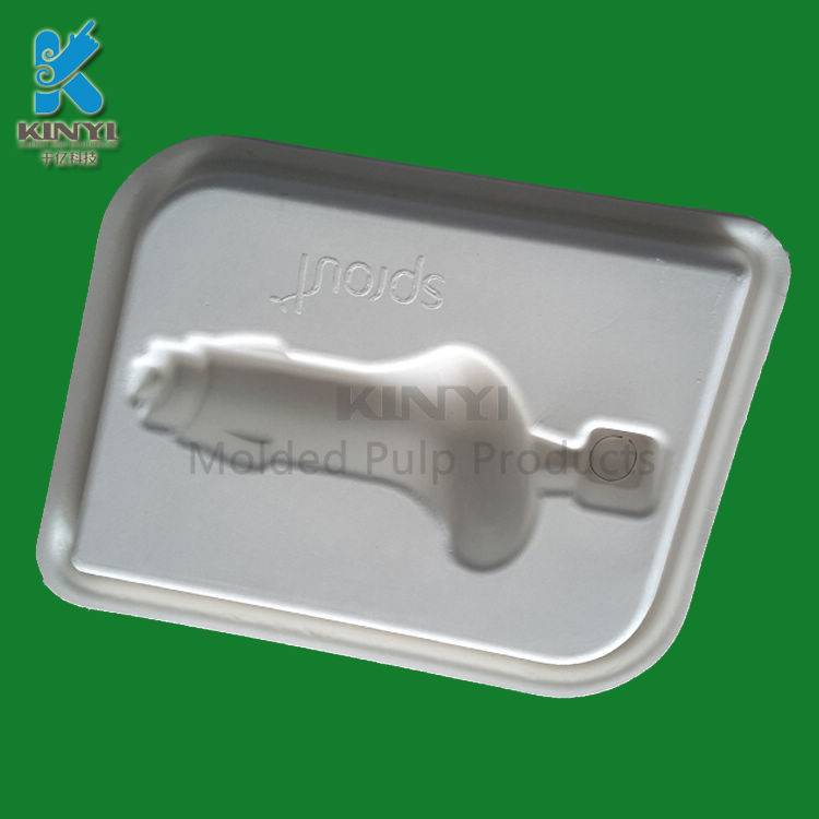 Eco-friendly sugarcane bagasse pulp battery tray molded pulp packaging