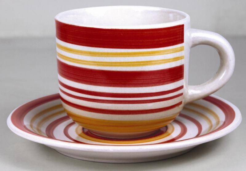 330cc stoneware  handpainted cup&saucer