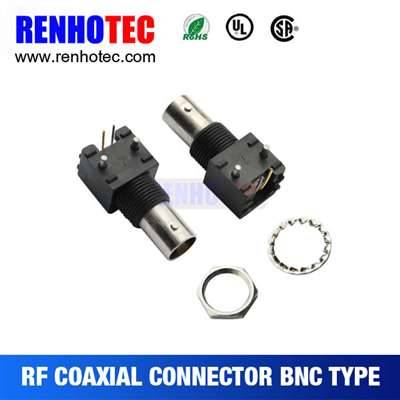 Right Angle Black Plastic Jack BNC Connector For PCB Mount