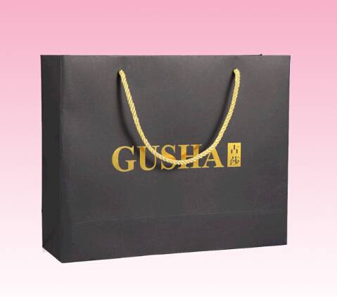 Custom recycled paper bag with gold logo