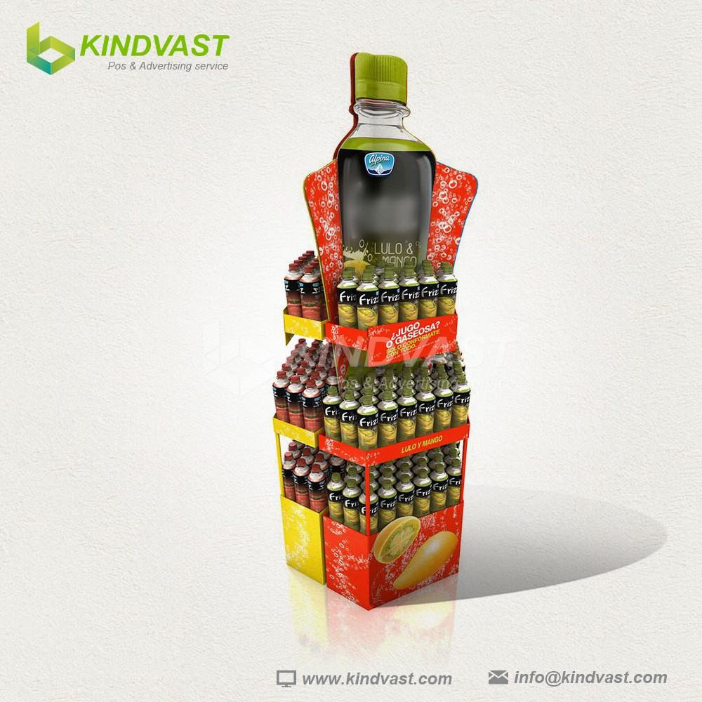 New creative beverage corrugated cardboard display in supermarket