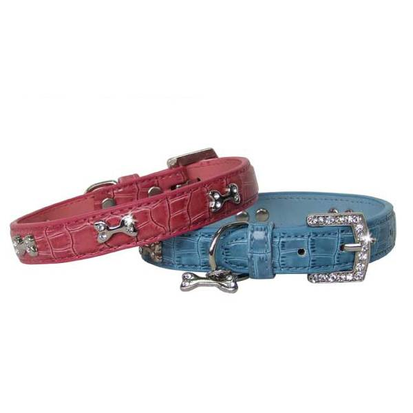 Crocodile Style Leather Dog Collar with Crystal and Metal Bone