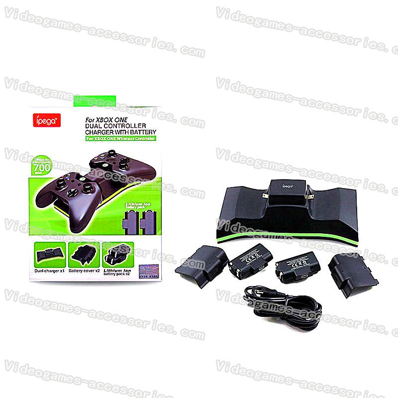Dual Charging Dock Charger Station With 2 x Rechargeable Battery (700 mah) for XBOX One