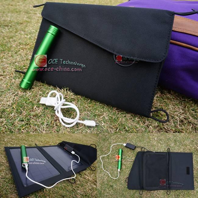 7 Watt Portable Solar Charger Pack for Mobile/Tablet + Mini LED Flashlight
